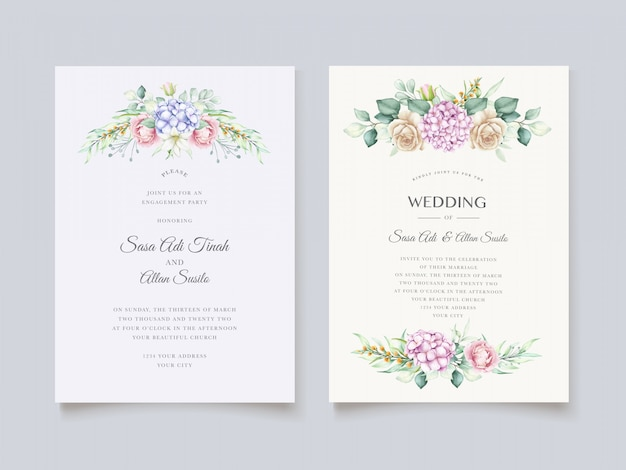 Elegante set di carte acquerello ortensie