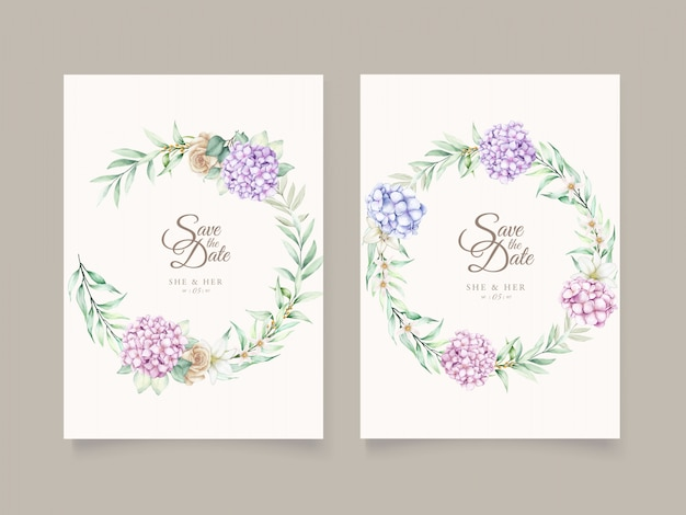 Elegant hydrangea watercolor card set