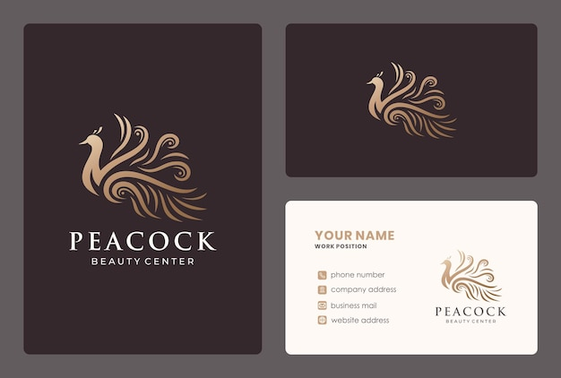 Elegant illustration peacock logo design with business card