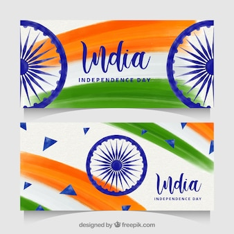 Elegant indian independence day banners