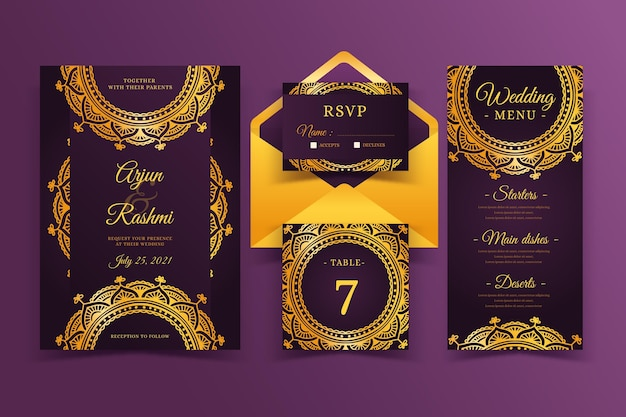 Elegant indian wedding invitation template