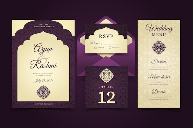 Elegant indian wedding stationery templates