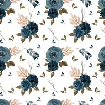 우아한 인디고 블루 원활한 플로랄 패턴