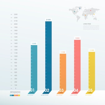 Elegant infographic design with colorful bar chart elements