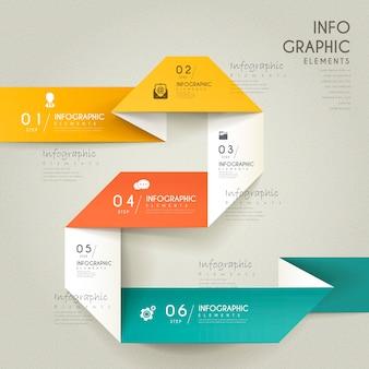 Elegant infographic design with folding paper elements