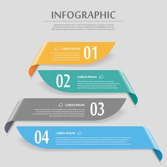 광택있는 배너 요소와 우아한 infographic 디자인