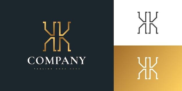 골든 그라디언트의 우아한 초기 편지 kk 로고 디자인. 편지 k 로고 디자인. 기업 비즈니스 아이덴티티에 대한 그래픽 알파벳 기호