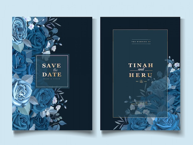 Elegant invitation card with classic blue floral template