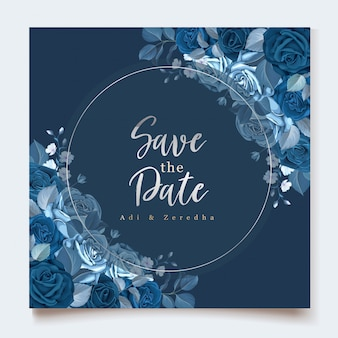 클래식 블루 꽃 템플릿 우아한 초대 카드