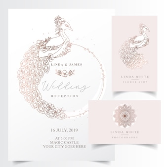 Elegant invitation card with a peacock