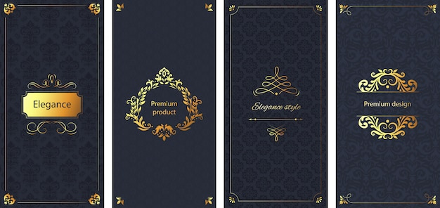 エレガントな招待状。装飾的なダマスク織の飾りパターン、ゴールデンフレーム、バロック様式の華やかな高級パンフレット背景セット