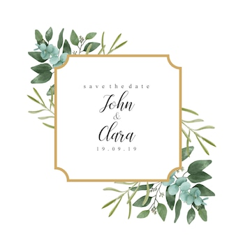 Elegant invitation frame with watercolor leaves