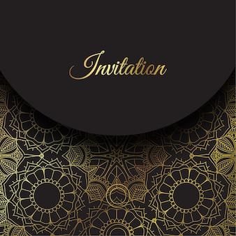 Elegant invitation with gold mandala design
