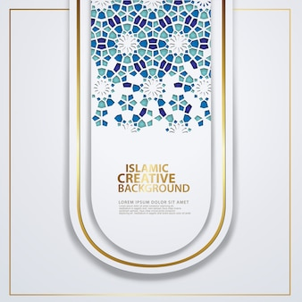 Elegant islamic creative background template with ornamental colorful mosaic