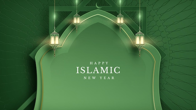 Elegant islamic new year creative card poster background. lamp and half moon and golden line on pattern. luxury realistic mosque paper cut style design. empty space to place text. vector illustration.