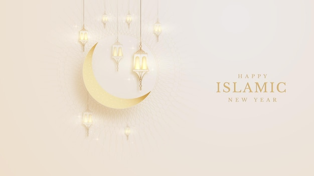 Elegant islamic new year creative card poster background. lamp and half moon golden on pattern color cream feeling about luxury concept paper cut style. vector illustration for design.