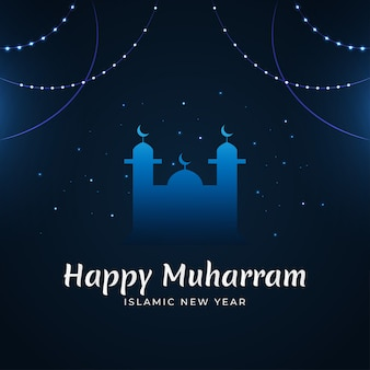 Elegant islamic new year design  concept with mosque silhouette