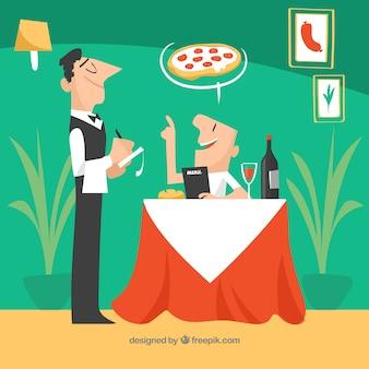 플랫 deisgn와 우아한 이탈리아 레스토랑
