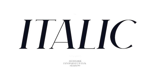 Элегантный курсивный шрифт без засечек в стиле современной типографии букв и цифр. прописные и строчные буквы.