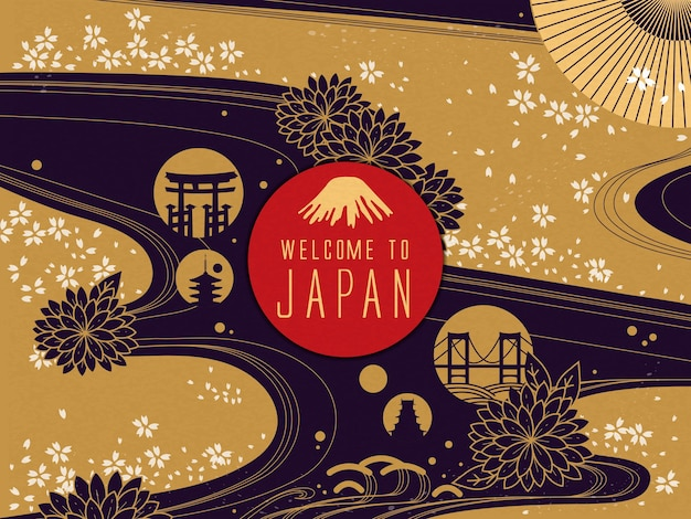 エレガントな日本旅行ポスターイラスト