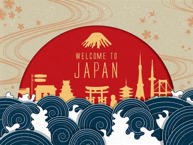 Элегантный плакат путешествия по японии с красным солнцем и красивыми приливами