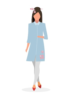 エレガントな日本の女の子のフラットイラスト。グラマー中国の女性の漫画のキャラクターは、白い背景で隔離。着物風のドレスを着たお嬢様。桜の花とアジアのファッションモデル