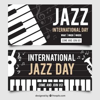 Элегантные джаз баннеры с фортепиано