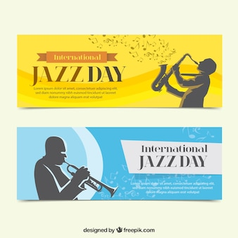 Elegant jazz banners with saxophonist silhouettes