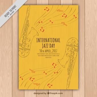 색소폰 스케치의 우아한 재즈 브로셔