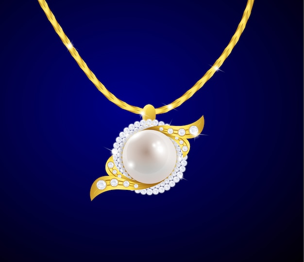 Elegant jewelry pendant with diamonds and pearls
