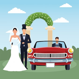 Elegant just married couple and red classic car