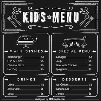 Elegant kid's menu with blackboard background