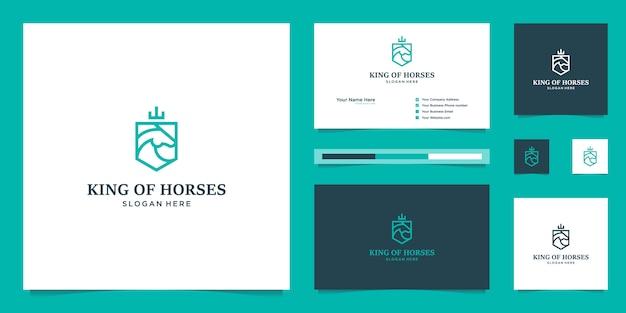 Элегантный королевский конь со стильным графическим дизайном и визитной карточкой, вдохновляющий роскошный дизайн логотипа