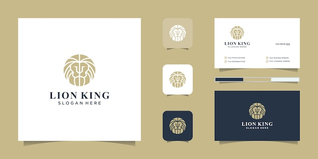 Elegant king lion with stylish graphic design and business card inspiration luxury design