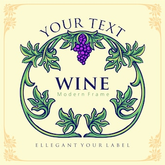 Elegant label for a bottle of wine with green leaves and grape