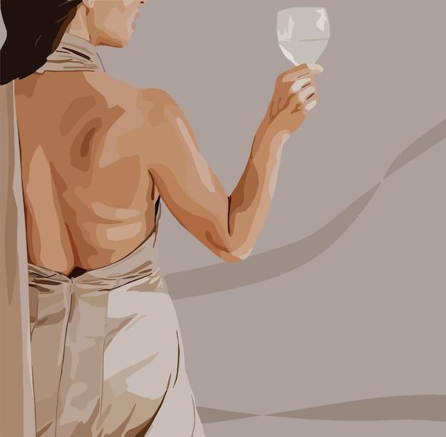 彼女の手にガラスを持つドレスのエレガントな女性。ベクトルファッションイラスト