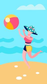 エレガントな女性がビーチのイラストにボールを投げる