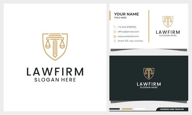 柱ラインアートスタイルの名刺テンプレートとエレガントな法律事務所の弁護士のロゴ