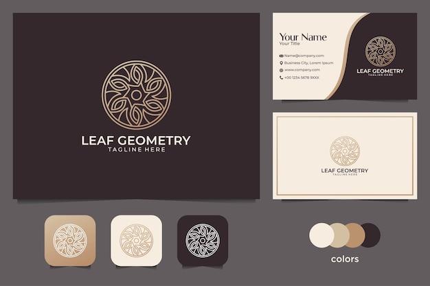 우아한 잎 기하학 로고 디자인 및 명함