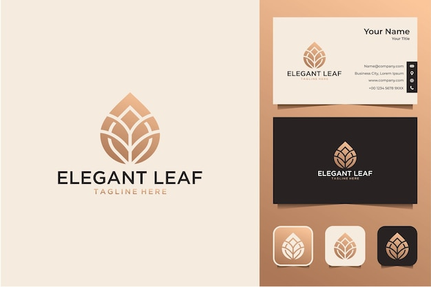 Elegant leaf gold logo design and business card