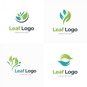Elegant leaf logo set