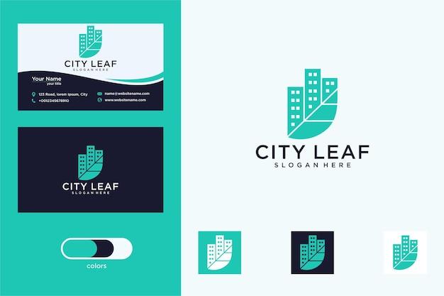 도시 로고 디자인과 명함이 있는 우아한 잎
