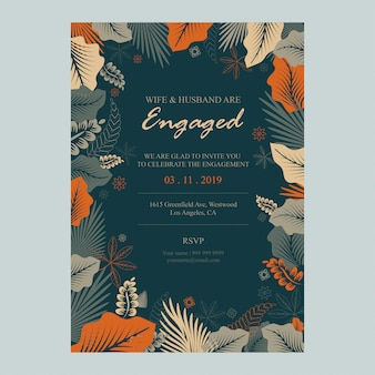Elegant leaves frame invitation