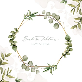 Elegant leaves frame for wedding invitation