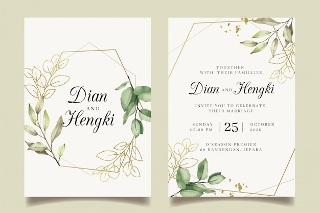 Elegant leaves gold wedding invitation with geometric golden frame