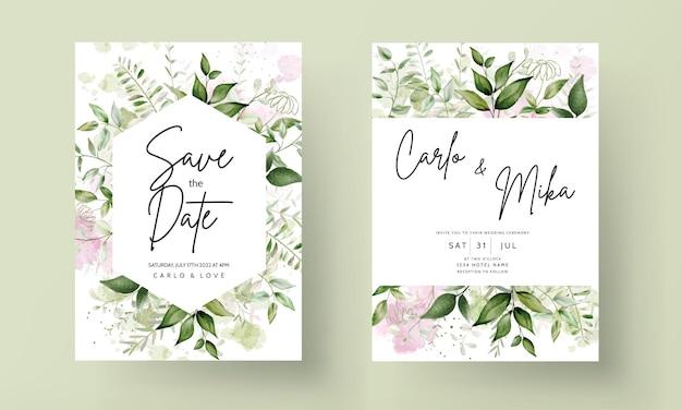 Elegant leaves watercolor wedding invitation with splash watercolor background