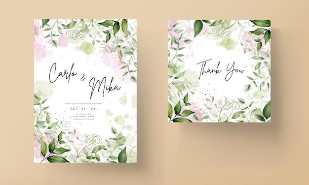 エレガントな葉の水彩画の結婚式の招待状とスプラッシュ水彩背景