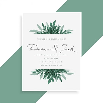 Elegant leaves wedding invitation card