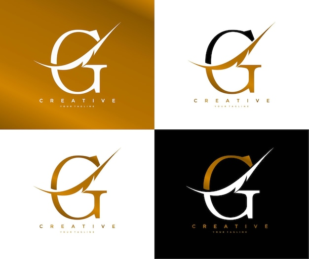 Elegant letter g linked swoosh feather symbol logo