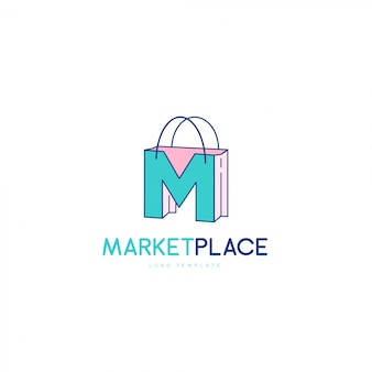 Elegant letter m symbol, market place logo concept